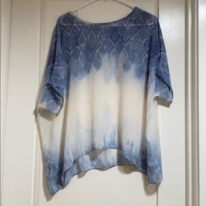Cabi blue and white top (S-M)